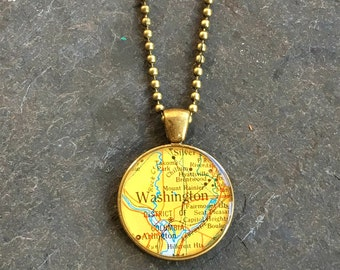 Map Necklace Washington DC  Bold Bronze Loop Style Vintage Atlas