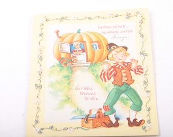Happy Birthday, Greeting Card Picture Book, Peter Peter Pumpkin Eater, Nursery Rhyme, Music, Vintage, Blank ~ The Pink Room ~ 160918