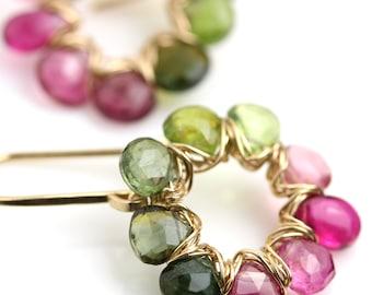Pink and Green Tourmaline Dangle Earrings. Tourmaline Wreath Earrings.