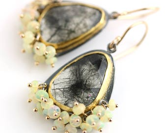 Black Rutilated Quartz Earrings with Ethiopian Opal Fringe. 22k Gold, 18k Gold and Oxidized Silver
