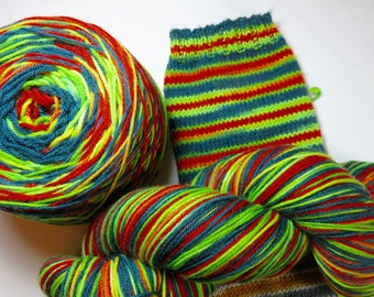 SALE 20% OFF -- Handpainted Superwash Merino/Nylon 4-ply Sock Yarn -- Striping Yarn for Socks or Gloves -- Red Pepper Green Pepper