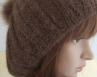 Brown Alpaca Ladies Hand Knit Hat/ Woman's Knit Slouchie- Ready to Ship