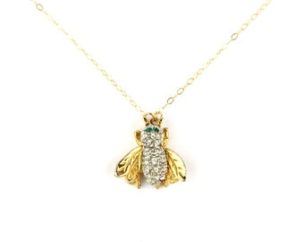 Bzzzz. - Vintage Rhinestone Bumble Bee Pin Necklace