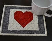 Handmade Quilted Heart Mug Rug Coffee Mug Rug Coffee Lovers Mug Rug Valentines Mug Rug Snack Mat Coasters