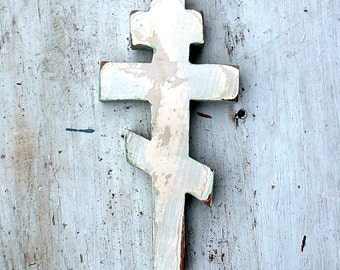 Byzantine Cross, White Greek Cross, Ukranian Cross, Wood Russian Cross, Wood Wall Cross, Salvaged Wood Cross, Eastern Orthodox Cross,