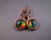 Eye See You, Colorful Cat Eye Earrings, Rainbow and Copper Dangle Earrings, FREE Shipping U.S.