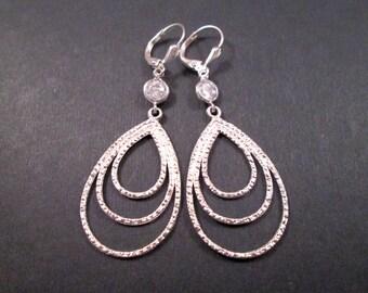 Crystal Bezel Earrings, Silver Triple Loops, Long Dangle Earrings, FREE Shipping U.S.
