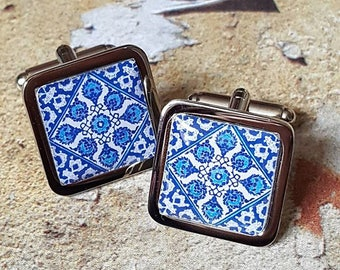 Cornflower Blue Portuguese Tile Cufflinks
