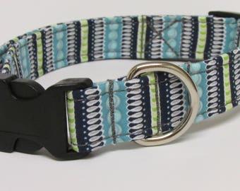Fun Stripe Printed Handmade Dog Collar in Blue and Grey/Gray