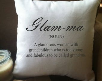 glam-ma definition pillow/ glamma pillow/ grandma gift/ we're expecting/ pregnancy announcement/ nana pillow