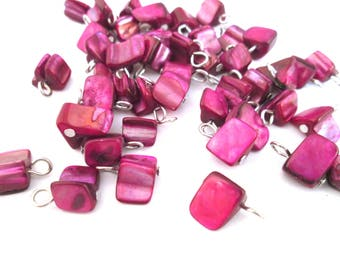 Mother of Pearl Pendant Charms, Magenta MOP Tumbled Drops, Pick Your Amount, C85