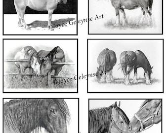 ACEO Prints, Horses, WHOA Team, Horses in Pencil, Original Drawings, Six ACEO Prints,Tiny Art, Animals, Equine, Equestrian Art