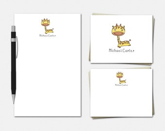 Giraffe Stationery - Personalized Stationery Set - Personalised Stationary Set - Personalized Giraffe Stationery for Kids