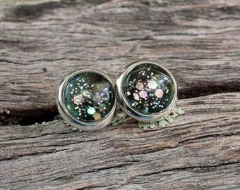 Glittering black and silver stud post earrings