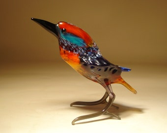 Handmade  Blown Glass Figurine Art Blue and Red Kingfisher Bird Figure