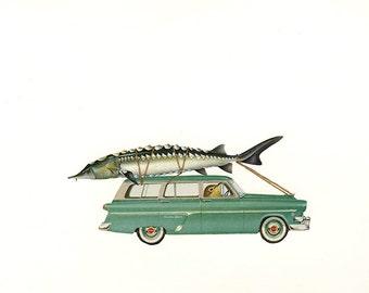 Dennis celebrates the catch of a lifetime. Original collage by Vivienne Strauss.