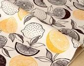 Japanese Fabric - citrus fruit canvas - yellow, black, charcoal - 50cm