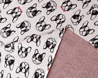 Japanese Fabric French Bulldog Interlock Knit - natural - 50cm