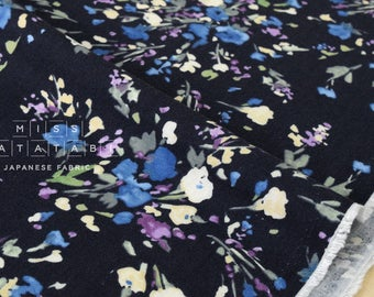 Japanese Fabric brushed twill watercolor flowers - dark blue - 50cm
