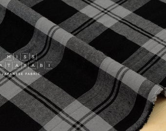 Japanese Fabric rayon plaid - black, grey - 50cm