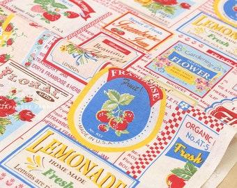 Japanese Fabric Atsuko Matsuyama Fruit Label  - multi - fat quarter
