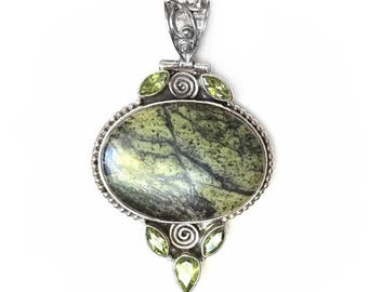 Sale: Green Serpentine, Peridot, and Sterling Silver Pendant
