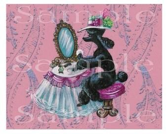 Black Poodle Note Cards Set of 5 Pink Boudoir