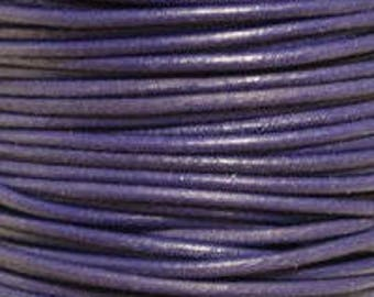 "2mm Round Violet Purple Leather Lace Cord - 2mm 3/32"" Diameter Craft Jewelry Bracelet Wrap Necklace - I ship Internationally"