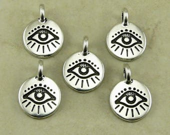 Evil Eye Round Stamp charm > Curse Protection Amulet Talisman Greece Egypt - Fine Silver Plated Lead Free pewter I ship Internationally 2504