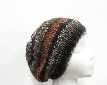 Brown stripes knitted beanie hat  5247