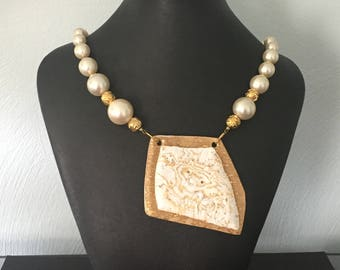 Gold and White Polymer Clay Pendant/Necklace with Pearl and White Beads