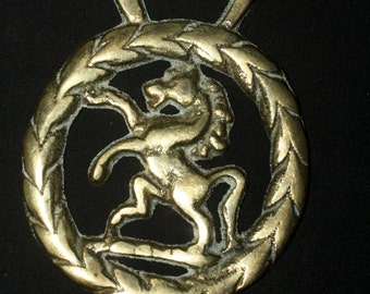 Vintage or Antique Rearing Horse, Horse Brass - Epona, Sovereignty  - Folk Magic, British, Pagan, Wisdom - Rare