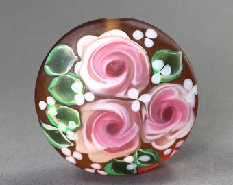 Roses on Amber......Glass Bead Handmade by Highland Beads, Etched Floral Bead