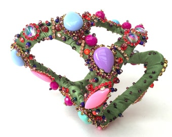 Statement Bracelet,green, blue, purple, pink, rhinestone fantasy couture, pink and orange tones
