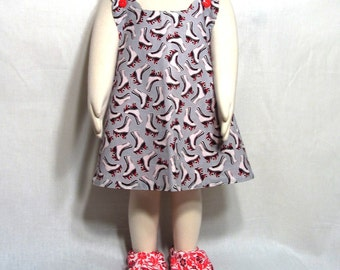Reversible One Size Dress With Matching Shoes OOAK Fits 12mo-3T Roller Skates