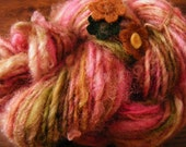 LEAF BLOSSOM Handspun Wool Yarn Flowers Fleecespun Coopworth 78yds 2.9oz 8wpi aspenmoonarts knitting art yarn pink green