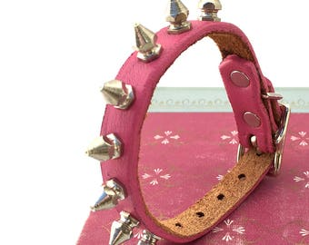 Little Tough Girl Bubblegum Pink Leather Dog Collar with Spikes, Size XXS, to fit a 6-8in Neck, Extra Small Dog, Tiny Dog, EcoFriendly