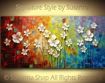 ORIGINAL Large Abstract Flowers Painting Flower Art abstract wall art chakra rainbow color psychology painting Impasto artwork by Susanna