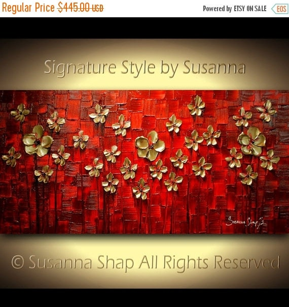Painting ORIGINAL red gold landscape flowers art abstract wall art large modern palette knife impasto texture painting susanna