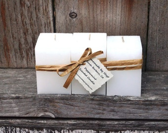 Trio of Peppermint Scented Small Square Pillar Candles