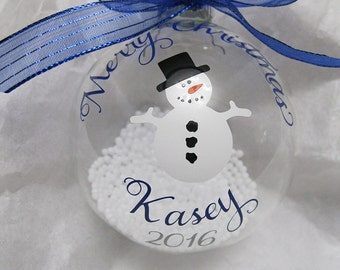 Personalized Clear Snowman Ornament Christmas 2017 for children/adults
