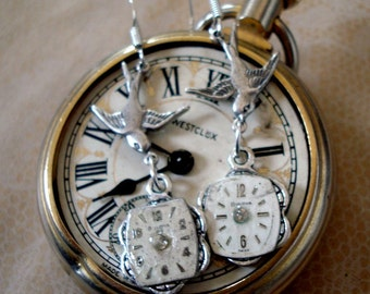 Time Flies Earrings with Vintage Watch Face Dangling from Bird Connector