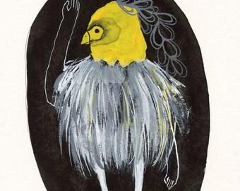 Salut / Gouache Original / gouache painting