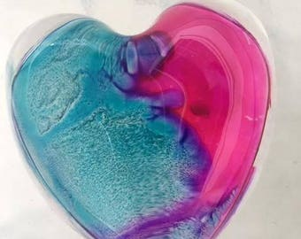 OOAK Heart Glass Paperweight Inked Art Swirled Vibrant Colors 3 inch Paper weight Abstract Blue Pink