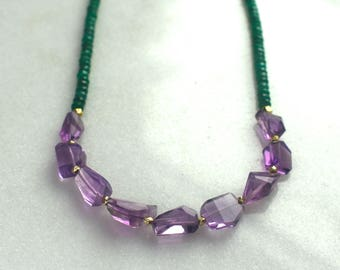 Any Which Way Amethyst Nugget, Green Emerald Necklace in 22kg Vermeil...