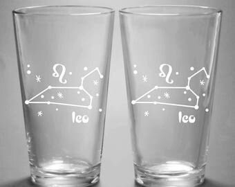 Leo Zodiac Constellation Pint Glass