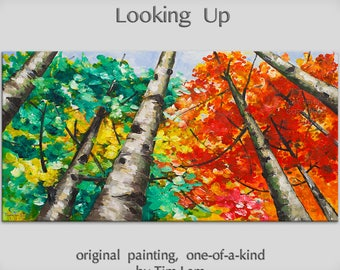 Original Painting Looking Up Forest art, huge mural oil painting Autumn Aspen Tree by Tim Lam 48x24x1.5