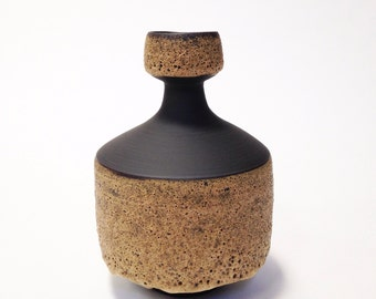Ships Now- med/lrg stoneware ceramic vase in raw black clay with ochre crater glaze by sara paloma