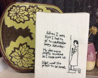 Embroidery Art,  Wall Decor, Textile Art, recovering Catholic