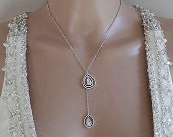 Women Accessories Crystal Y Necklace Lariat Necklace Crystal Teardrop Crystal Embellished Necklace Bridal Necklace